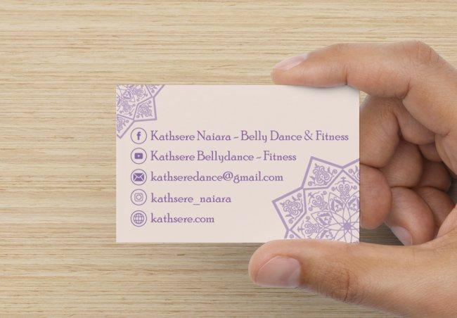 Tarjeta de contacto de Kathsere. Danza oriental, yoga y pilates.