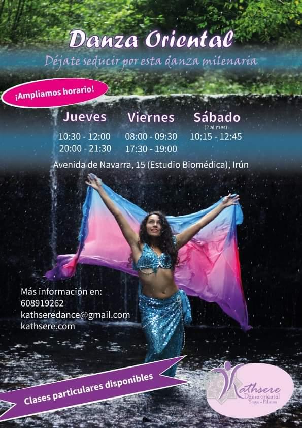 Horarios de danza del vientre en Irún con Kathsere 2020